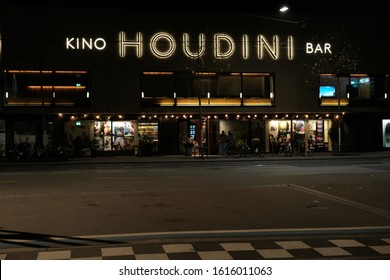 Zürich, Switzerland - January 2020:Houdini Cinema Bar Located at the Kalkbreite tram stop, the Houdini Bar is located inside one of the newer movie theaters in the city
