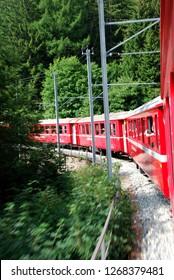 Switzerland - July 2012: Swiss Mountain Train Bernina Express from Tirano to St. Moritz