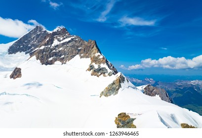 Switzerland, Jungfraujoch, the Jungfrau Peacks seen from the Sphinx observatory platform