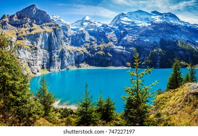Switzerland Kandersteg view of famous Oeschinensee late summer