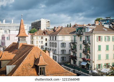 Switzerland, Lausanne  - August 24, 2018: Lausanne is a town in the French-speaking Swiss canton of Vaud on the shores of Lake Geneva (another name is Leman).