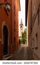 Switzerland, Locarno, 31 Aug 20. Narrow side street in the old town