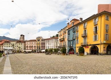 Switzerland, Locarno, 31 Aug 20. The piazza grande in downtown Locarno
