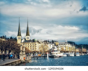 Switzerland, Lucerne - January 3,2019 : The Hofkirche, a double-pointed tower church, is an important church and still a landmark in Lucerne.