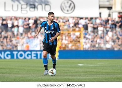Switzerland, Lugano, july 14 2019: Gagliardini Roberto, fc Inter midfielder, takes ball in frontcourt in the first half during friendly football match LUGANO FC vs INTER FC, Cornaredo stadium