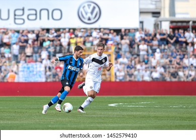 Switzerland, Lugano, july 14 2019: Sensi Stefano, fc Inter midfielder, takes ball in frontcourt in the first half during friendly football match LUGANO FC vs INTER FC, Cornaredo stadium