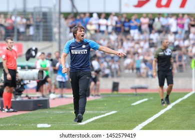 Switzerland, Lugano, july 14 2019: Conte Antonio, fc Inter manager, gives advices from the bench during friendly football match LUGANO FC vs INTER FC, Cornaredo stadium