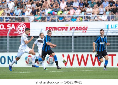 Switzerland, Lugano, july 14 2019: Esposito Sebastiano, fc Inter striker, attacks the penalty area in the first half during friendly football match LUGANO FC vs INTER FC, Cornaredo stadium