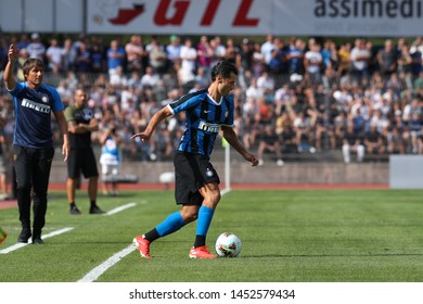 Switzerland, Lugano, july 14 2019: Candreva Antonio, fc Inter midfielder, dribbles in frontcourt in the first half during friendly football match LUGANO FC vs INTER FC, Cornaredo stadium