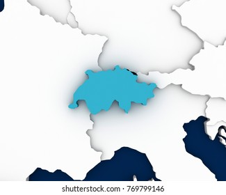switzerland map 3D illustration