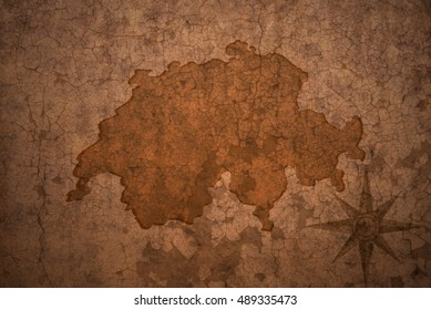 switzerland map on a old vintage crack paper background