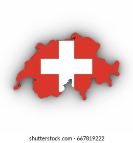 Switzerland Map Outline with Swiss Flag on White with Shadows 3D Illustration