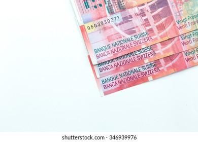 Switzerland money swiss franc banknote on white background