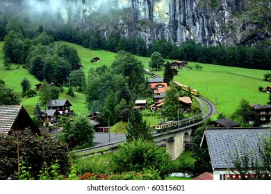Switzerland. Mountain village and the rack railroad