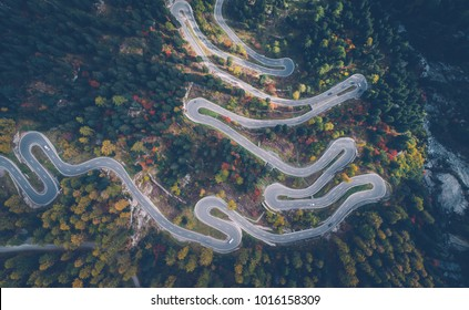 Switzerland mountains and nature. Concepts about traveling and wanderlust. Maloja pass serpentine road
