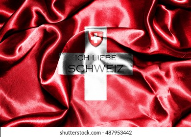 Switzerland National Flag With Text Meaning I Love Switzerland