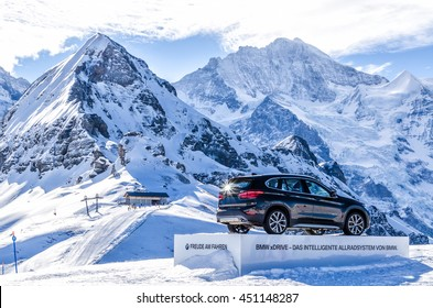 """Switzerland, Ski resort """"Jungfrau"""" February 21, 2016: Presentation of the BMW X1 is the new model of the car's drive version in the Swiss Alps Jungfrau."""