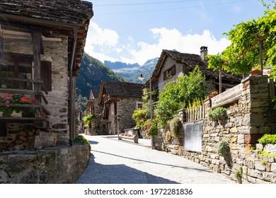 Switzerland, Sonogno, Sept 2020. Old town street