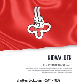 Switzerland state Nidwalden flag waving on an isolated white background. State name and the text area for your message. 3D illustration.