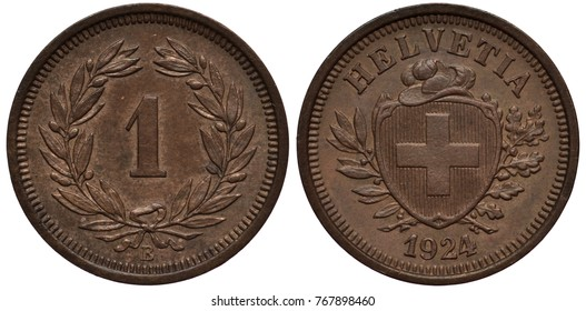 Switzerland Swiss coin 1 one rap 1924, face value flanked by laurel branches, shield with cross and hat on top flanked by laurel and oak branches,