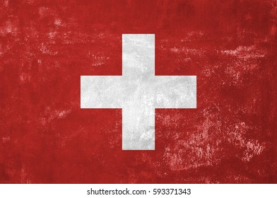Switzerland - Swiss Flag on Old Grunge Texture Background