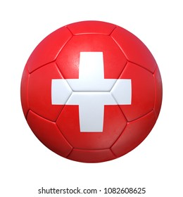 Switzerland Swiss soccer ball with national flag. Isolated on white background. 3D Rendering, Illustration.