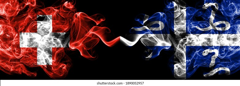 Switzerland, Swiss vs France, French, Martinique smoky mystic flags placed side by side. Thick colored silky abstract smoke flags.