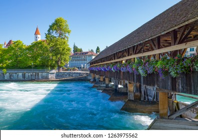 Switzerland, Thun, the Old Lock of the Aare river
