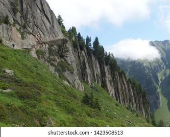 Switzerland, Tour du Mont Blanc - on the route from the Col de la Forclaz pass to the Col de Balme, view with tourists