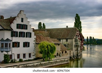 "Switzerland. The town ""Stein am Rein"" and the river Rhine"