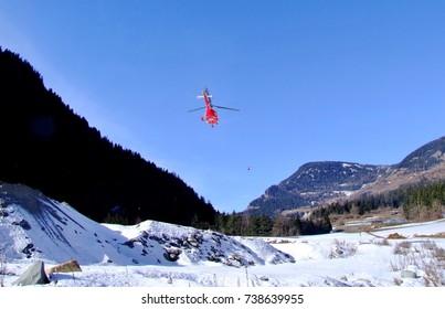 Switzerland, Verbier. Ski resort in Swiss Alps. Helicopter.