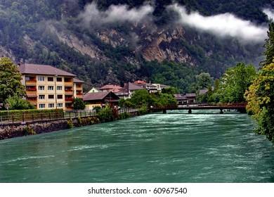 Switzerland. View of the River Aare in Interlaken