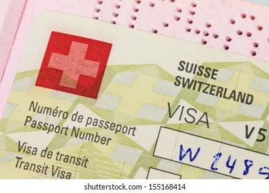 Switzerland visa in passport macro