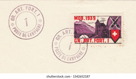SWITZERLAND-CIRCA 1939:A stamp printed in Switzerland,shows Artillery Fort 1. Feldpost, non-mail stamp,circa 1939