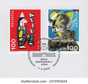 SWITZERLAND-CIRCA 2019:A stamp printed in Switzerland,shows National Circus Knie, circa 2019