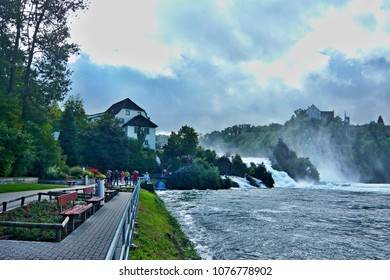 Switzerland-view of the Rhine Falls and the Laufen Castle