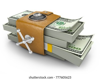 Swollen purse in the form of a combination lock, which has a pack of dollars. 3d rendering.