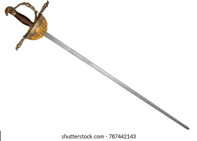 Sword disposed by diagonal, isolated on white background. It is unique model of sword, because it does not exist in real. It is a photo manipulation.