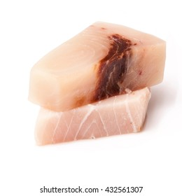 Swordfish (Xiphais gladius) steak portion uncooked and isolated on a white studio background.