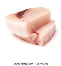 Swordfish ( Xiphais gladius) steak portion uncooked and isolated on a white studio background.