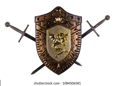swords and shield isolated on white background