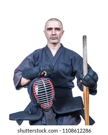 swordsman dressed in  protective equipment 'bogu' with  bamboo sword 'sinai'  for Japanese fencing Kendo training