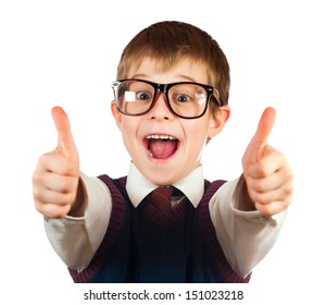 swot boy with glasses on a white background