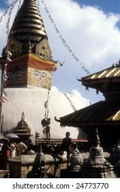 Swyambudnath Temple above  Kathmandu,  Nepal, Asia
