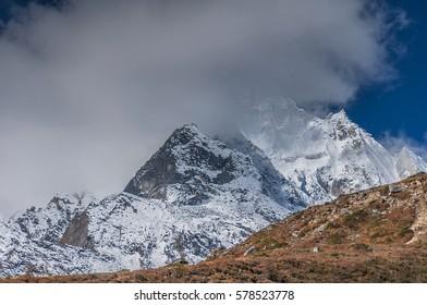 Syancha glacier, a deep valley leading south towards Manaslu summit, as seen   from Samdo village to Larkya Phedi camp on Manaslu Circuit trail, Manaslu Himal range, Gorkha district, Nepal Himalayas
