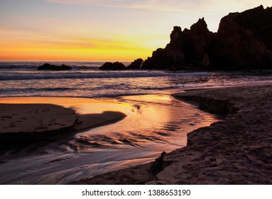 Sycamore Canyon Creek at Sunset, Pfeiffer Beach, Los Padres National Forest