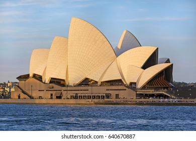 SYDNEY - APRIL 2016; Opera house at sunset.