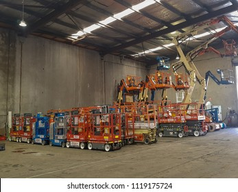 SYDNEY, AU - June 1, 2018: this is the parking place. also used for training knowledge of how to use boom lifts and scissors lifts.