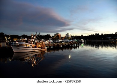 Sydney - August 13, 2017 - A picture of night scene of Blackwattle Bay, looking out from Sydney Fish Market, at 5:41pm
