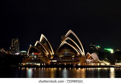 Sydney - August 13, 2017 - A picture of night scene of a symbolic Sydney Opera House located at Sydney Harbor, Sydney, Australia